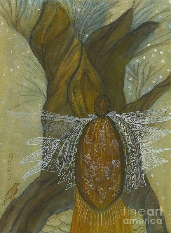 Tree Art Print featuring the painting Silence by Nancy TeWinkel Lauren