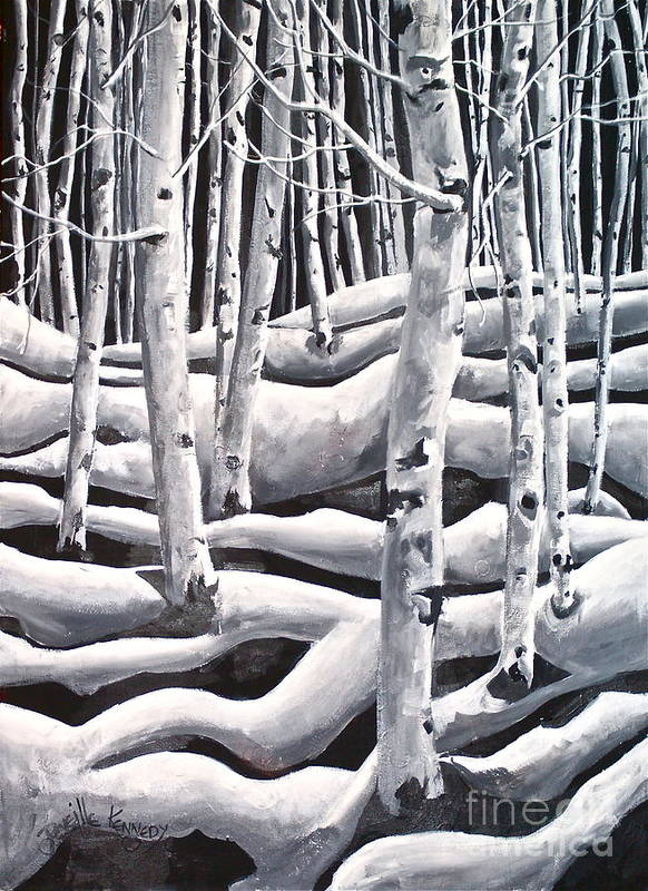 Acrylic Art Print featuring the painting Silent Aspens by Reveille Kennedy