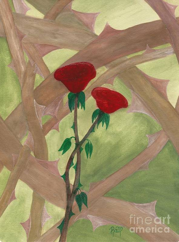 Roses Print featuring the painting Something Simple by Robert Meszaros
