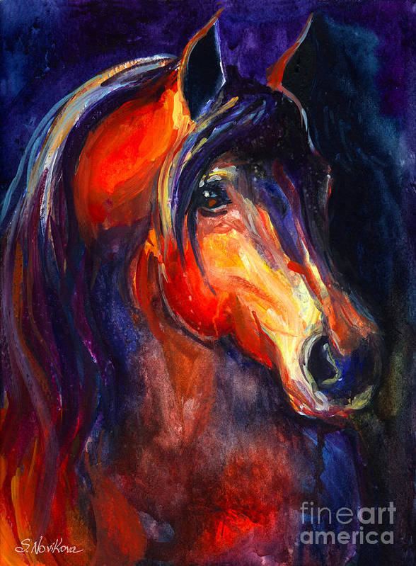 Arabian Horse Art Print featuring the painting Soulful Horse Painting by Svetlana Novikova