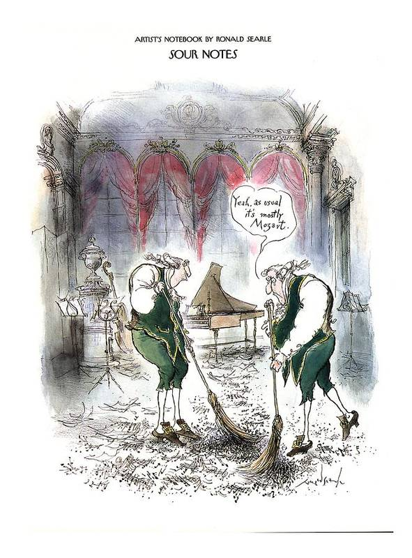 Sour Notes 'yeah Art Print featuring the drawing Sour Notes 'yeah by Ronald Searle