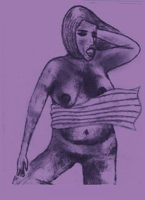 Nude Beach Art Print featuring the drawing South Beach by John Deeter