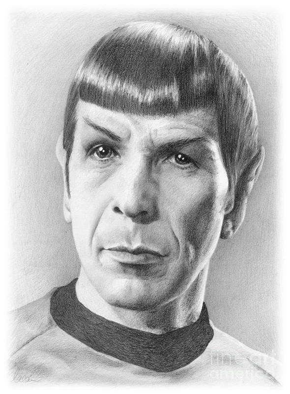 Spock Art Print featuring the drawing Spock - Fascinating by Liz Molnar