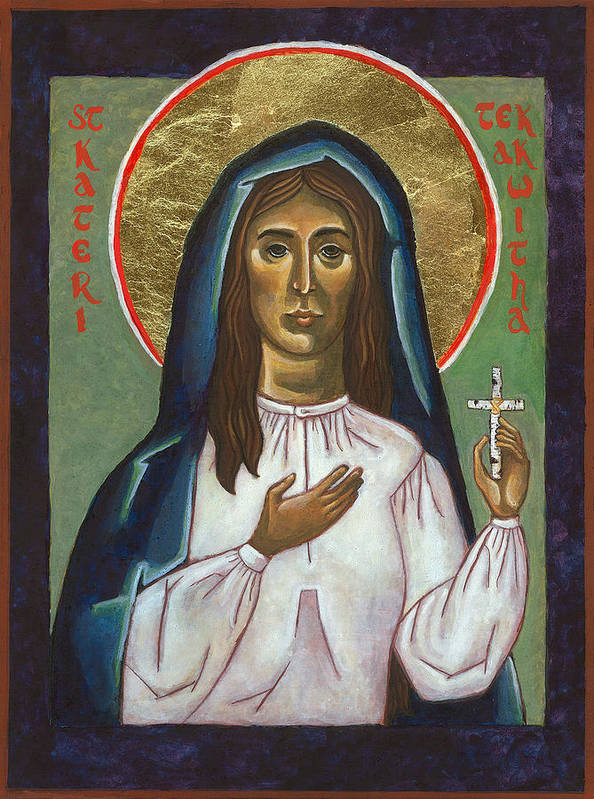 St Kateri Art Print featuring the painting St Kateri Tekakwitha by Jennifer Richard-Morrow