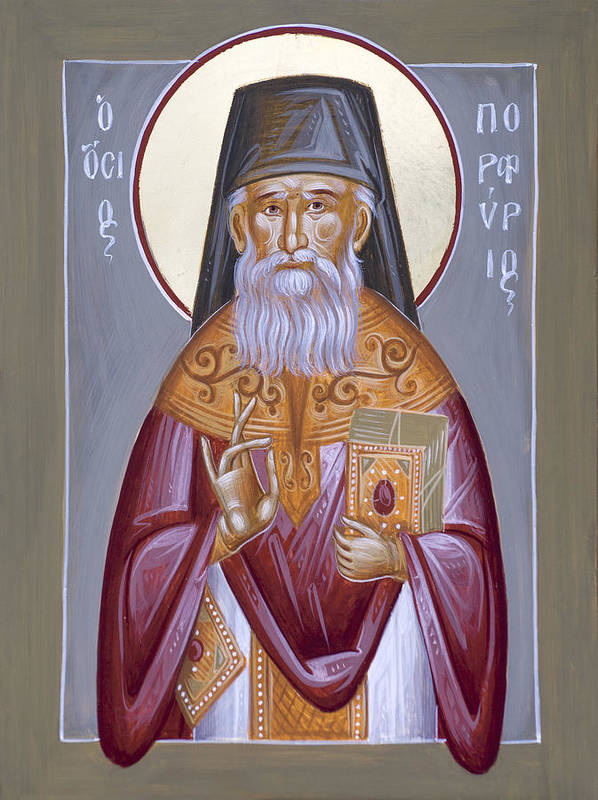 St Porphyrios Art Print featuring the painting St Porphyrios The Kavsokalyvitis by Julia Bridget Hayes
