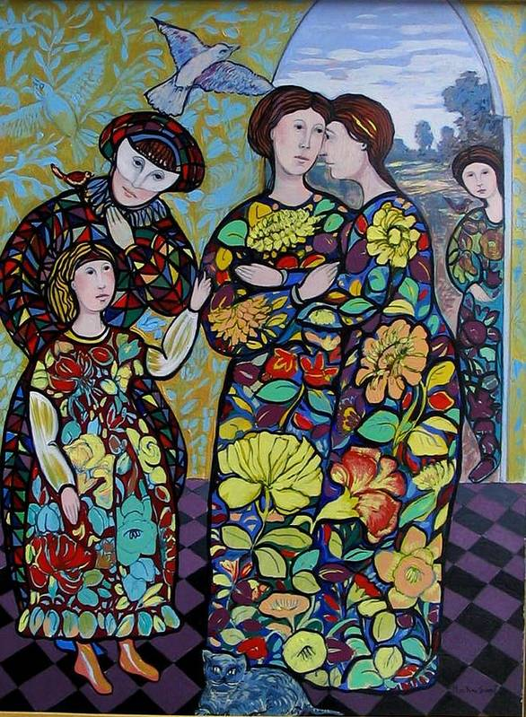 Stain Glass. Ladies. Women Art Print featuring the painting Stain Glass Women by Marilene Sawaf