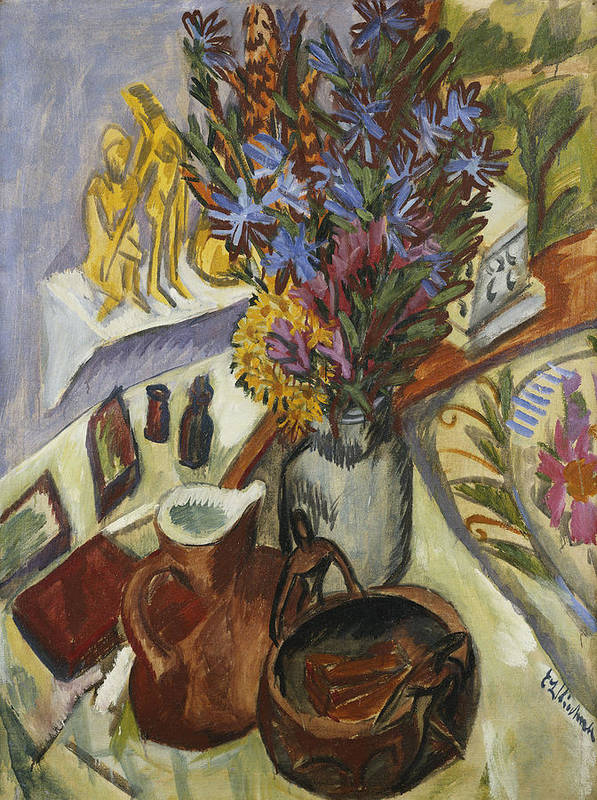 1910s Art Print featuring the painting Still Life With Jug And African Bowl by Ernst Ludwig Kirchner