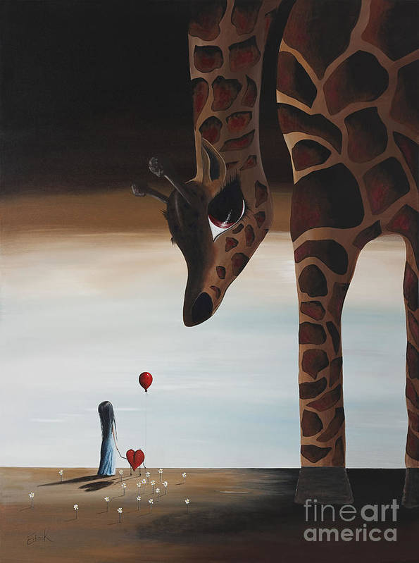 Giraffe Art Print featuring the painting Stop To Love By Shawna Erback by Shawna Erback