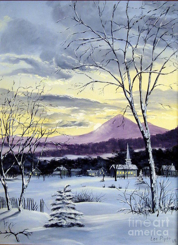 Maine Art Print featuring the painting Sunday In Winter by Lee Piper