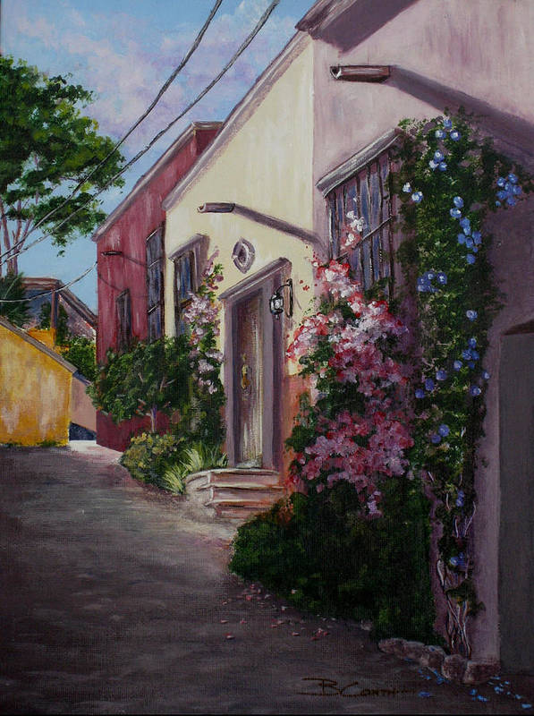 San Miguel De Allende Art Print featuring the painting Sunny Side Of The Street by Birgit Coath - AFCA