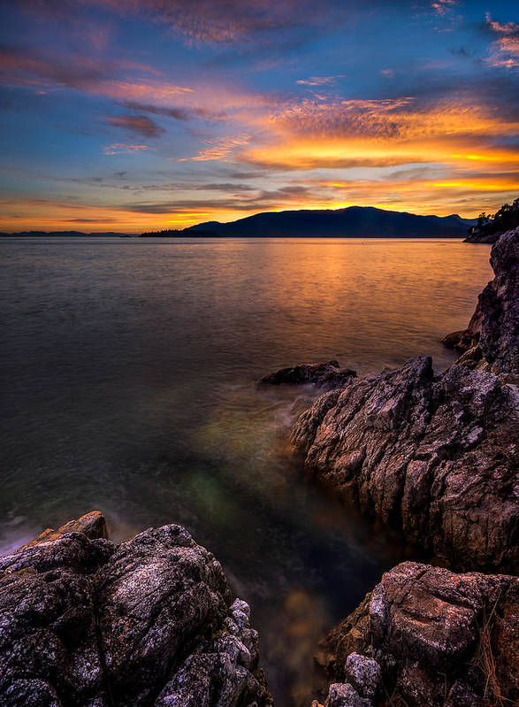 Landscapes Art Print featuring the photograph Sunset Over Bowen Island by Alexis Birkill