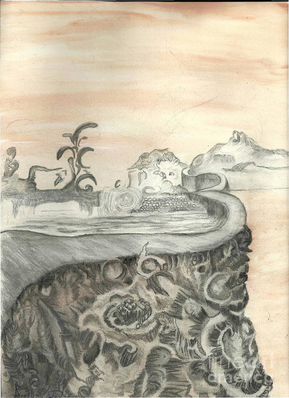 Surreal Art Print featuring the mixed media Surreal View by Angela Pelfrey