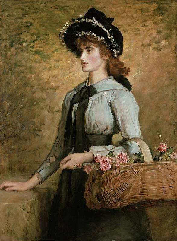 Basket Art Print featuring the painting Sweet Emma Morland by Sir John Everett Millais