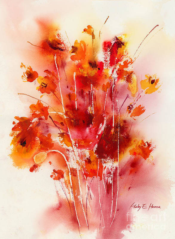 Flowers Print featuring the painting Tangerine Tango by Hailey E Herrera