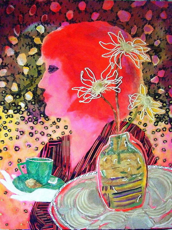 Flowers In A Vase Art Print featuring the mixed media Teabag by Diane Fine