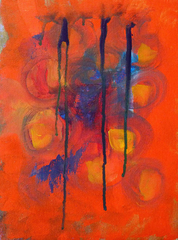 Red Orange Abstract Painting Art Print featuring the painting Temper Tantrum by Nancy Merkle