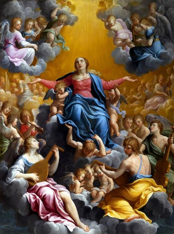 Guido Reni Print featuring the digital art The Assumption Of The Virgin Mary by Guido Reni