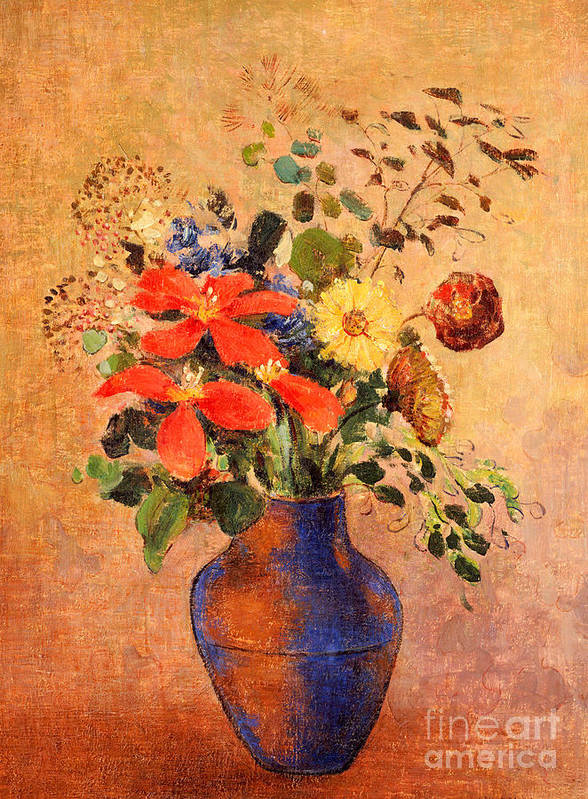 Still Life; Flower Art Print featuring the painting The Blue Vase by Odilon Redon