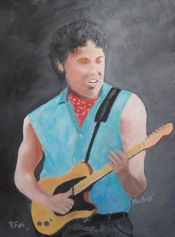 Springsteen Art Print featuring the painting The Boss by Rich Fotia