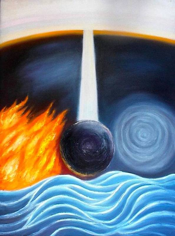 Five Elements Art Print featuring the painting The Creation Of The Trinity Of Gods by Shiva Vangara