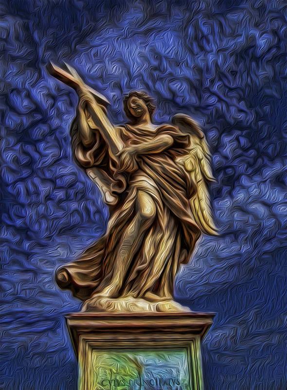 Saint Charles Bridge Art Print featuring the photograph The Golden Angel by Lee Dos Santos