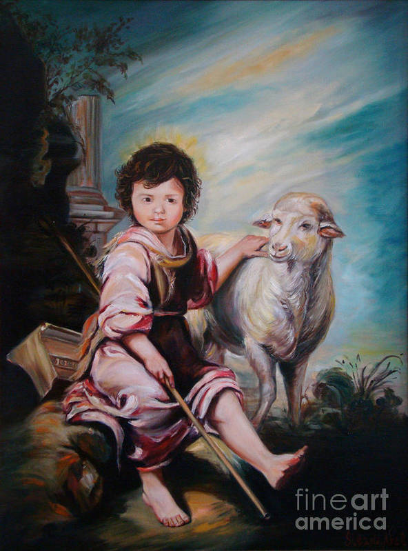 Classic Art Art Print featuring the painting The Good Shepherd by Silvana Abel