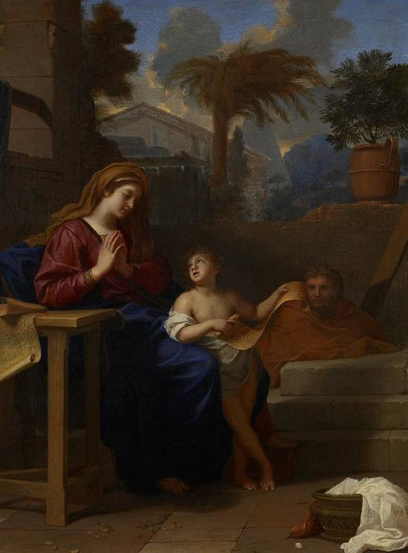 Baby Art Print featuring the painting The Holy Family In Egypt by Charles Le Brun