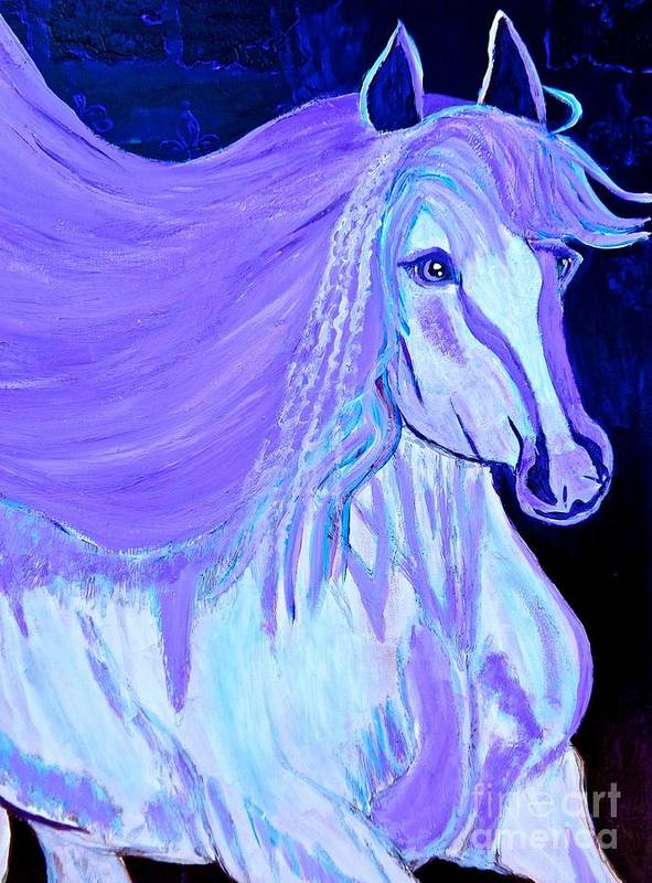 White Horse Art Print featuring the painting The White And Purple Horse 1 by Saundra Myles
