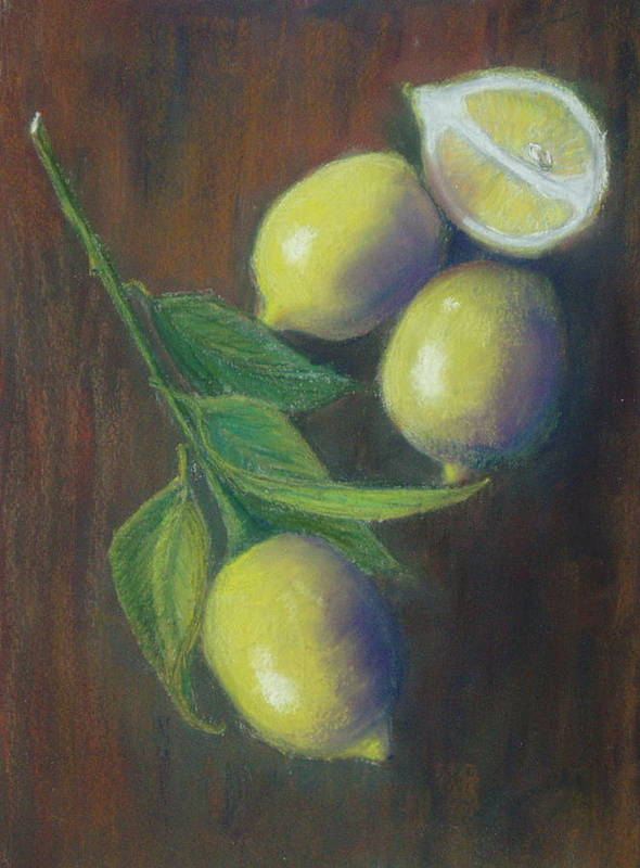Lemons Art Print featuring the painting Three And A Half Lemons by Ellen Minter
