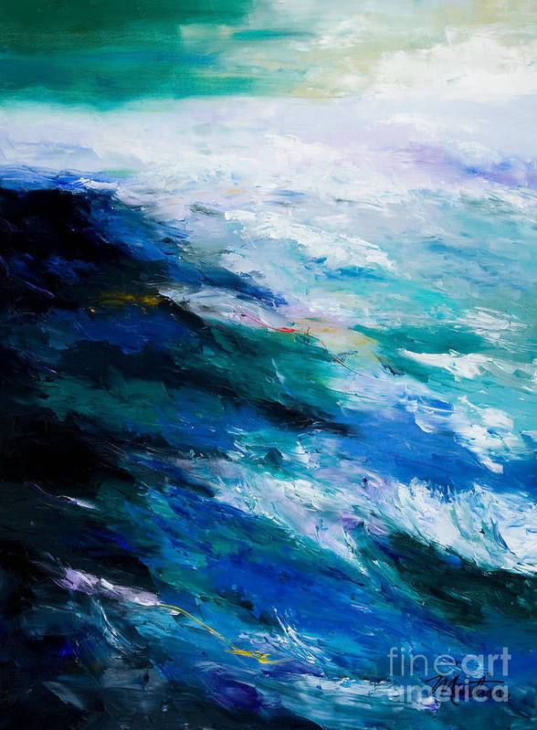 Seascape Art Print featuring the painting Thunder Tide by Larry Martin