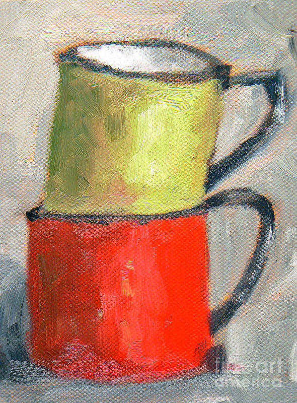 Tin Cups Art Print featuring the painting Tin Cups by Marietjie Du Toit