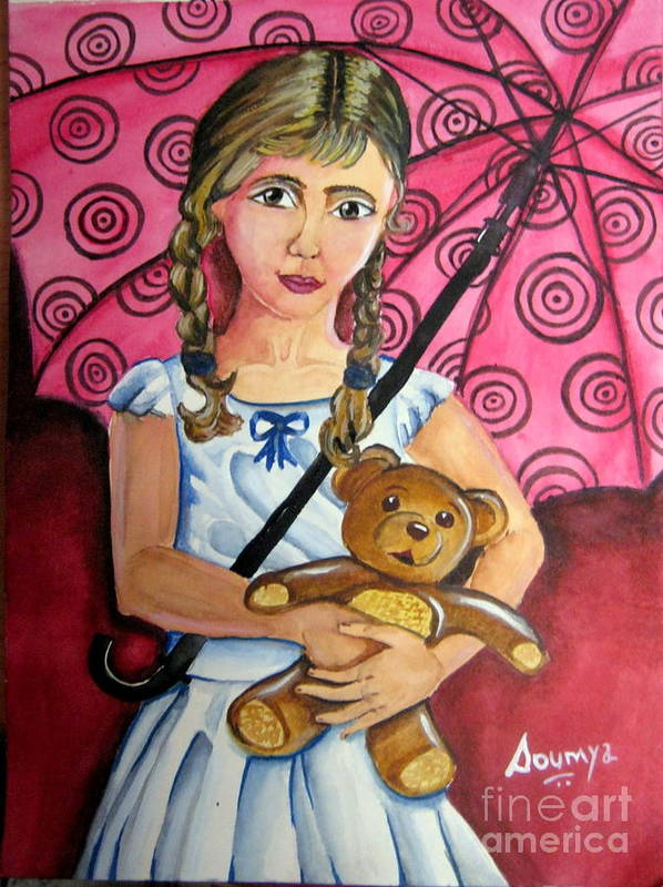 Girl Art Print featuring the painting Too Much To Carry by Soumya Suguna