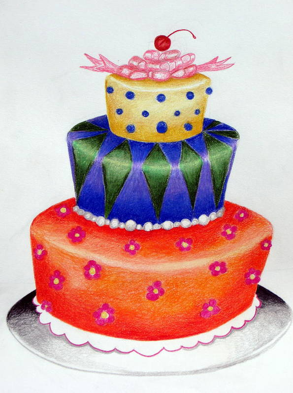 Food Art Print featuring the drawing Topsy Turvy Cake by Kori Vincent