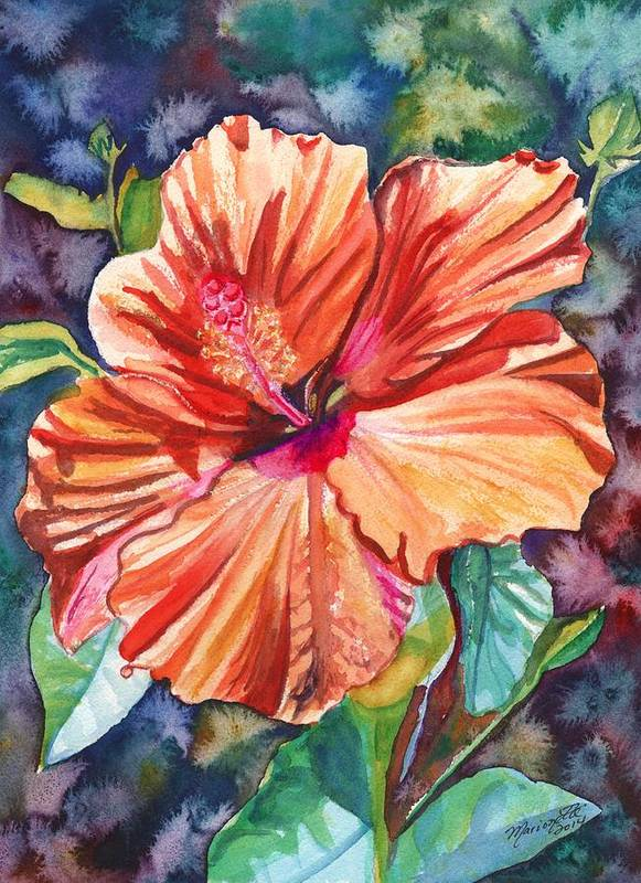 Hibiscus Art Print featuring the painting Tropical Hibiscus 5 by Marionette Taboniar