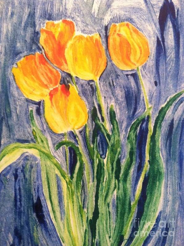 Owl Art Print featuring the painting Tulips by Sherry Harradence