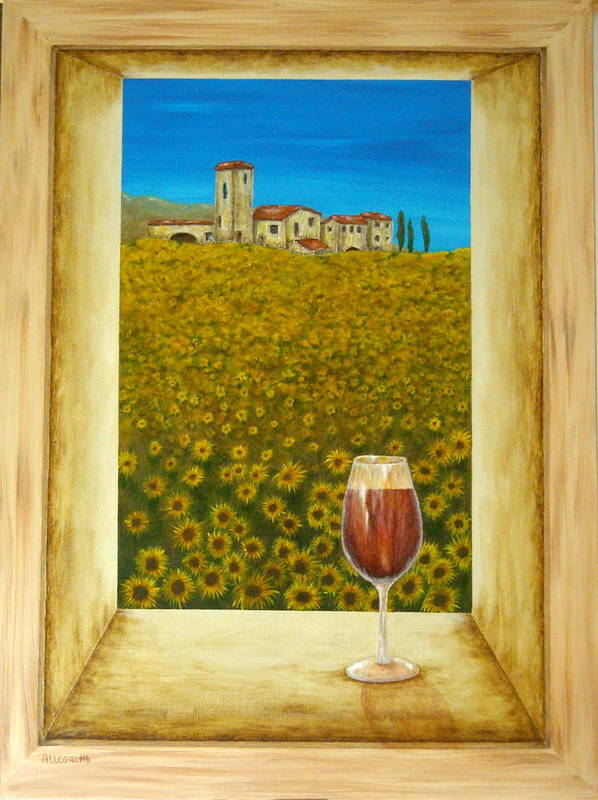 Allegretto Art Art Print featuring the painting Tuscan View by Pamela Allegretto