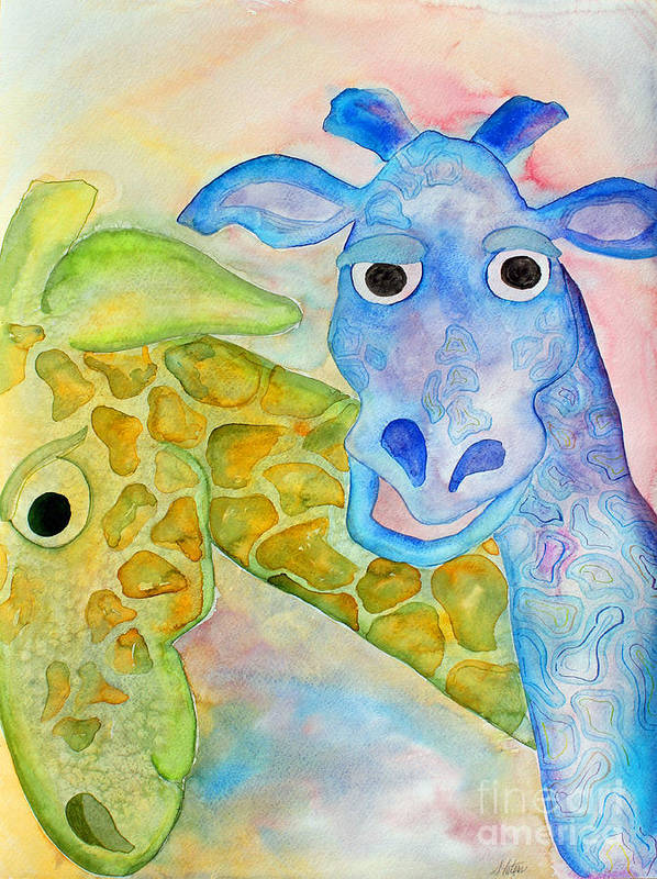 Watercolor Art Print featuring the painting Two Giraffes by Shannan Peters