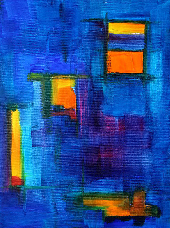 Blue Art Print featuring the painting Urban Architecture Abstract by Nancy Merkle