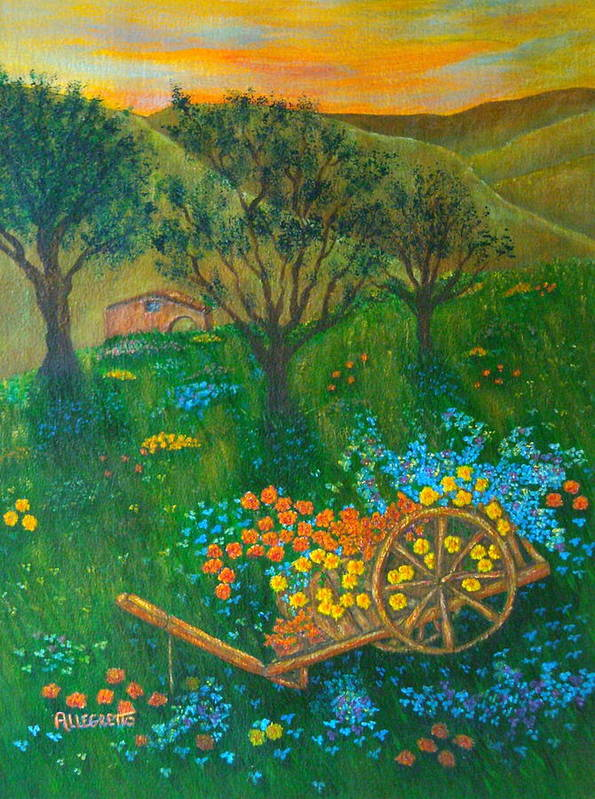 Pamela Allegretto Art Print featuring the painting Val D'orcia by Pamela Allegretto