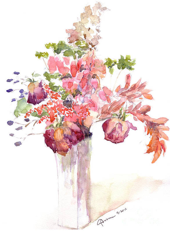 Flowers Art Print featuring the painting Vase Of Dried Flowers by Claudia Hafner