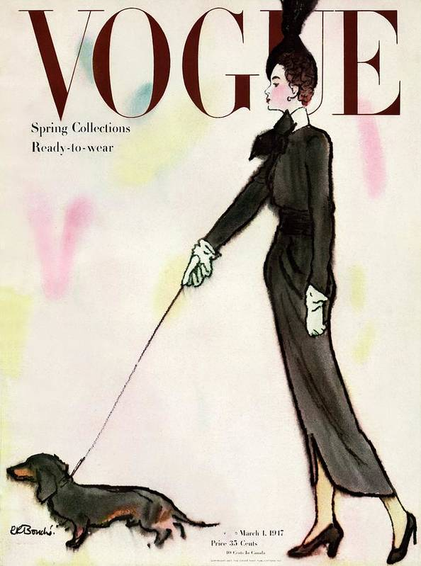 Fashion Art Print featuring the photograph Vogue Cover Featuring A Woman Walking A Dog by Rene R. Bouche