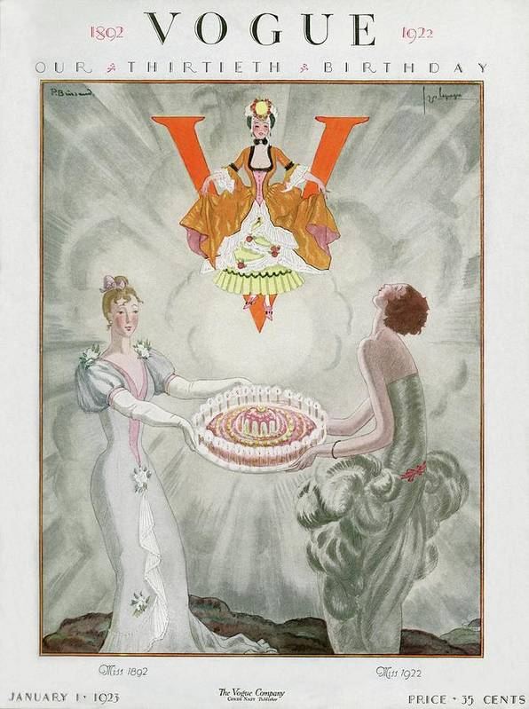 Fashion Art Print featuring the digital art Vogue Magazine Cover Featuring Two Women Carrying by Georges Lepape & Pierre Brissaud