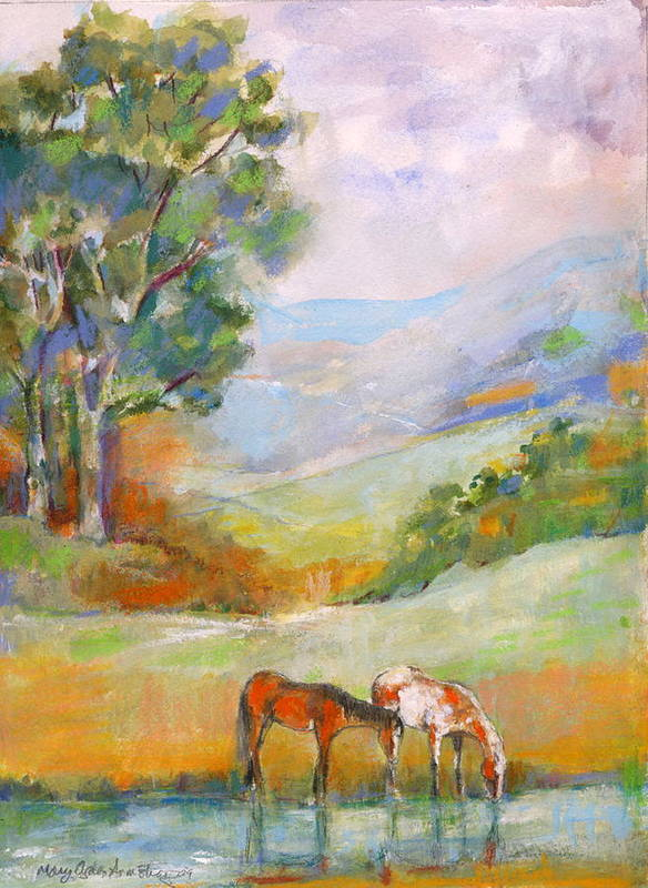 Horses Art Print featuring the painting Water Hole by Mary Armstrong