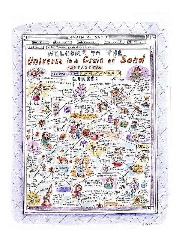 Sand Art Print featuring the drawing 'welcome To The Universe In A Grain Of Sand' by Roz Chast