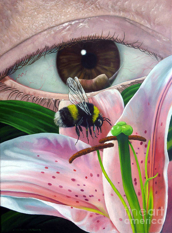 Bumble Bee Art Print featuring the painting White Tailed Bumble Bee Upon Lily Flower by Christopher Shellhammer