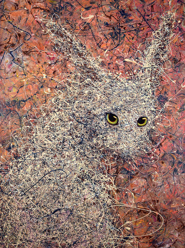 Rabbit Print featuring the painting Wild Hare by James W Johnson