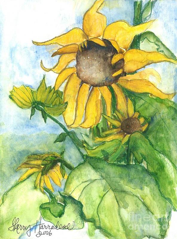 Orchards Art Print featuring the painting Wild Sunflowers by Sherry Harradence