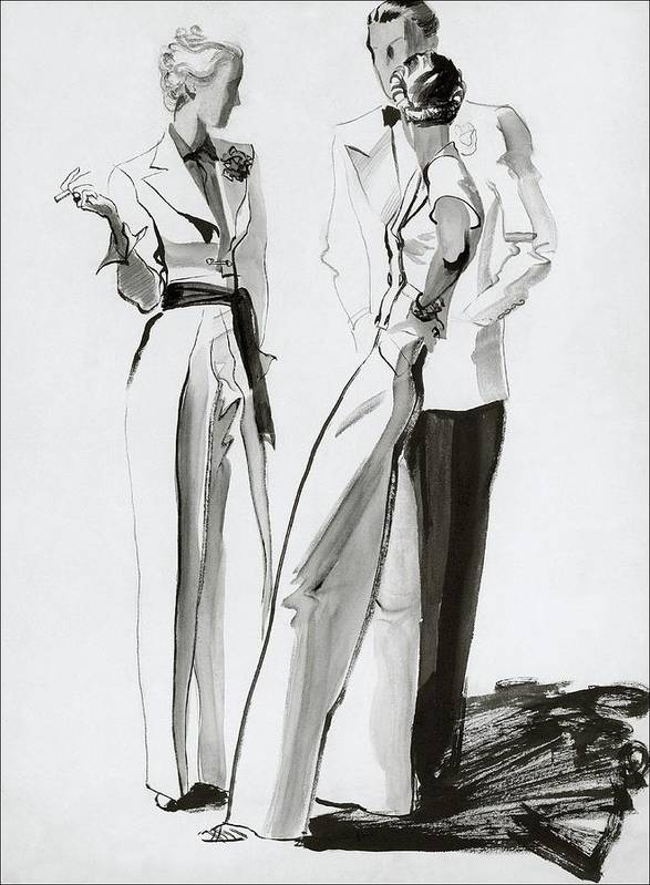 Fashion Art Print featuring the digital art Women And A Man In Suits by Rene Bouet-Willaumez