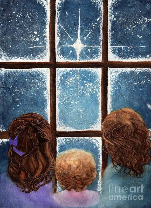 Children Art Print featuring the painting Wonder Of The Night by Janine Riley