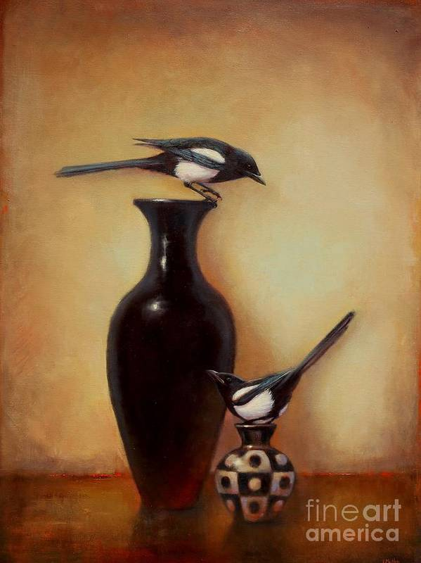 Black And White Art Print featuring the painting Yin Yang - Magpies by Lori McNee